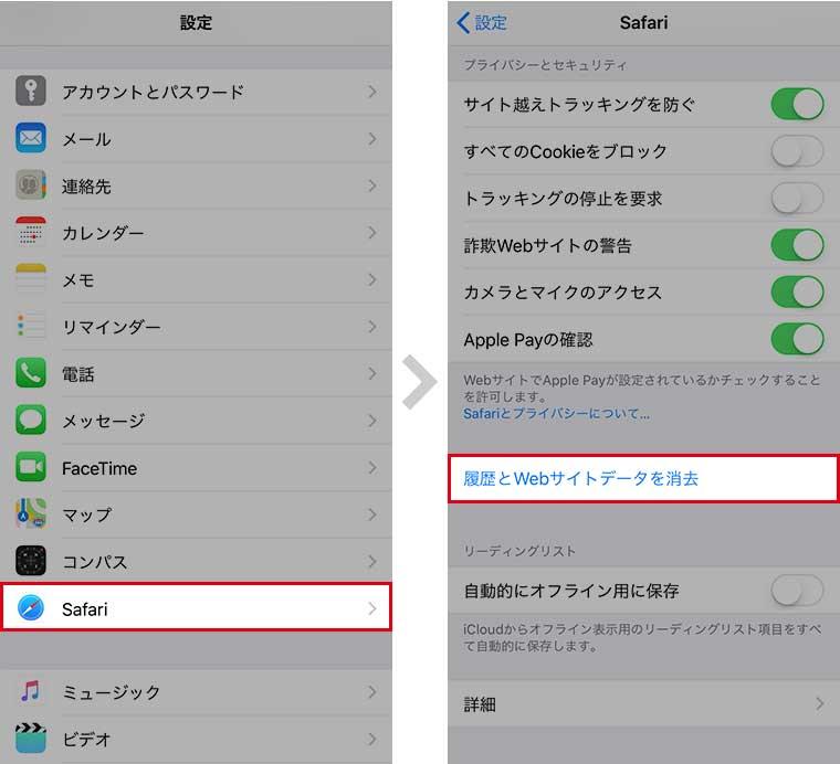 「設定」アプリを開き、「Safari」 → 「履歴とWebサイトデータを消去」の順にタップします。