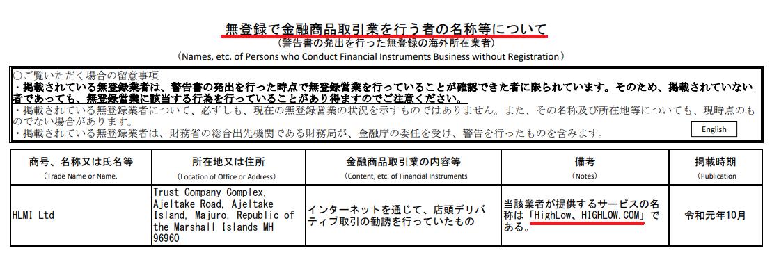 金融庁無登録の金融商品取引業