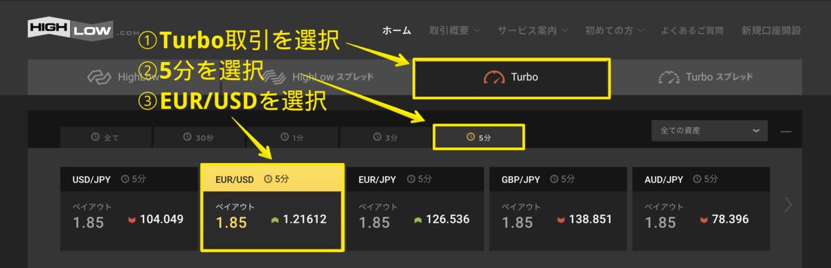 ハイローオーストラリア取引画面でTurbo5分でEUR/USD取引を選択します。