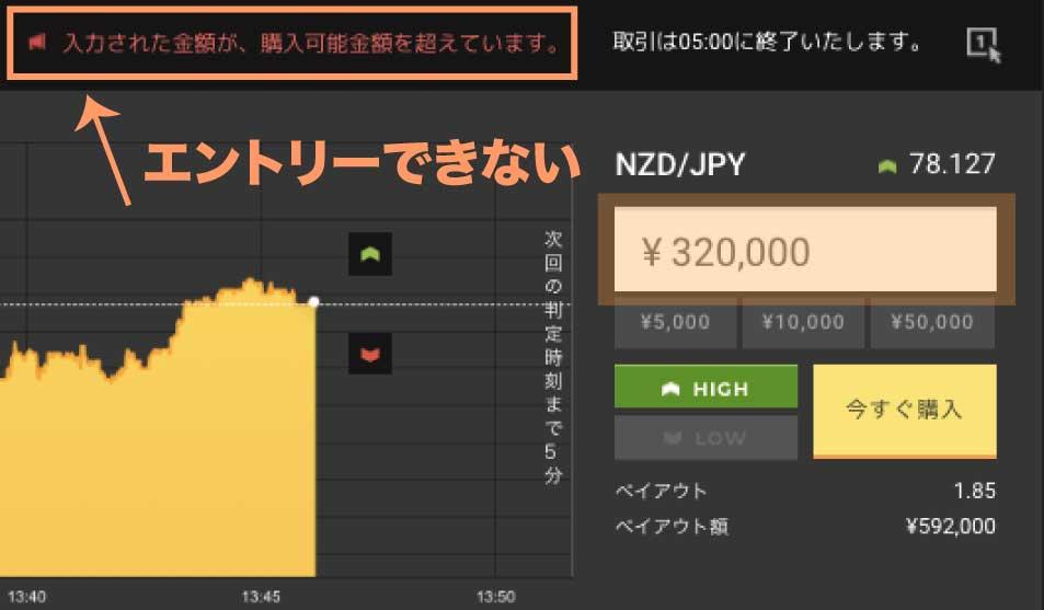 ハイローオーストラリアの掛け金上限は20万円。それ以上のエントリーはエラー扱いとなります